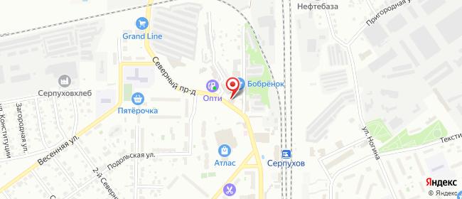 Карта расположения пункта доставки На Ворошилова в городе Серпухов