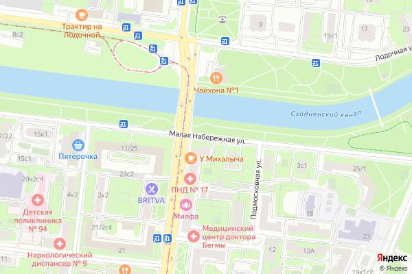 Ремонт телевизоров Улица Малая Набережная на яндекс карте