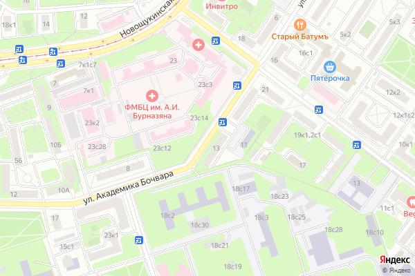 Ремонт телевизоров Улица Академика Бочвара на яндекс карте