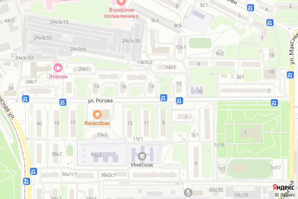 Ремонт телевизоров Улица Рогова на яндекс карте