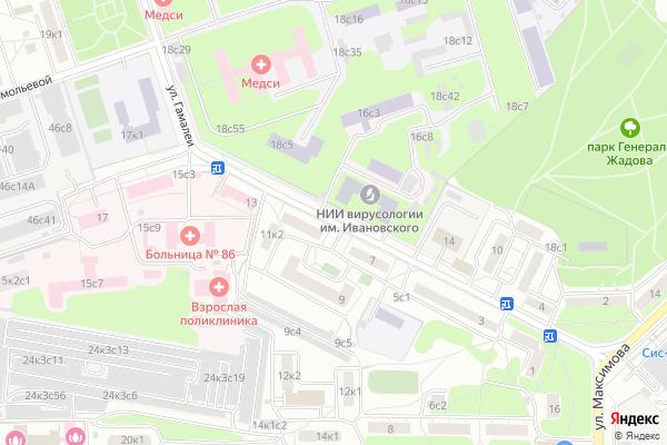 Ремонт телевизоров Улица Гамалеи на яндекс карте