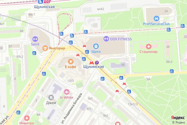 Ремонт телевизоров Метро Щукинская на яндекс карте
