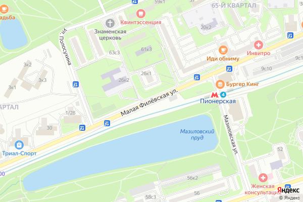 Ремонт телевизоров Улица Малая Филевская на яндекс карте