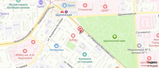Карта расположения пункта доставки Москва Маршала Василевского в городе Москва