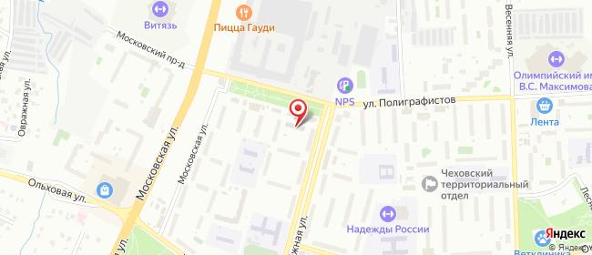 Карта расположения пункта доставки Ростелеком в городе Чехов