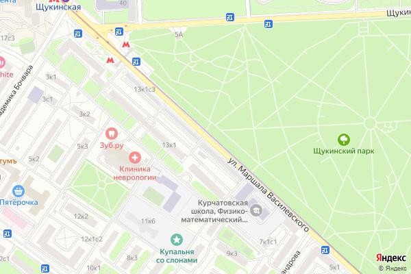 Ремонт телевизоров Улица Маршала Василевского на яндекс карте