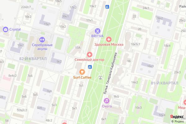 Ремонт телевизоров Генерала Карбышева бульвар на яндекс карте