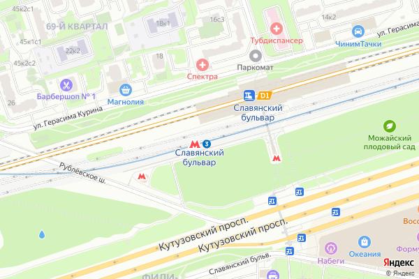 Ремонт телевизоров Метро Славянский бульвар на яндекс карте