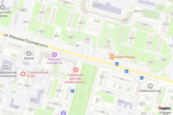 Ремонт телевизоров Улица Маршала Тухачевского на яндекс карте