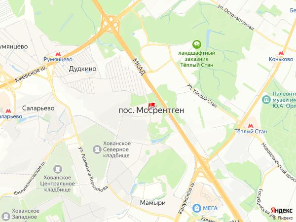 Карта посёлок Мосрентген