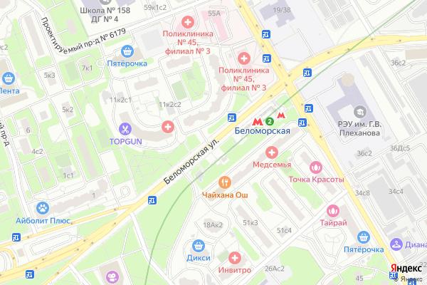 Ремонт телевизоров Улица Беломорская на яндекс карте