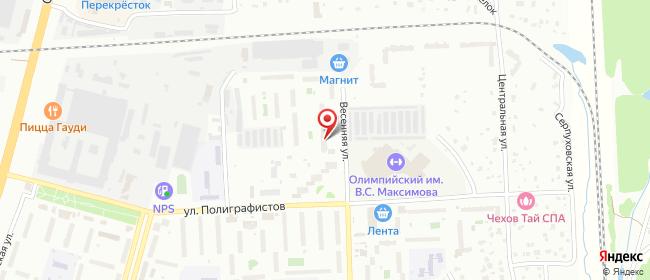 Карта расположения пункта доставки Чехов Весенняя в городе Чехов
