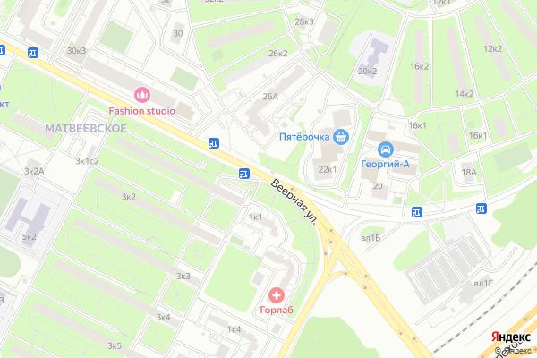 Ремонт телевизоров Улица Веерная на яндекс карте