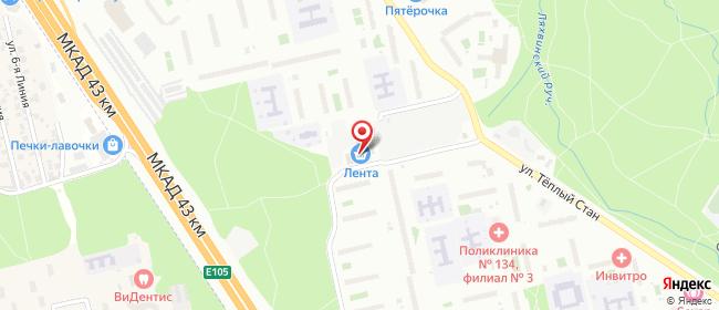 Карта расположения пункта доставки Москва Генерала Тюленева в городе Москва