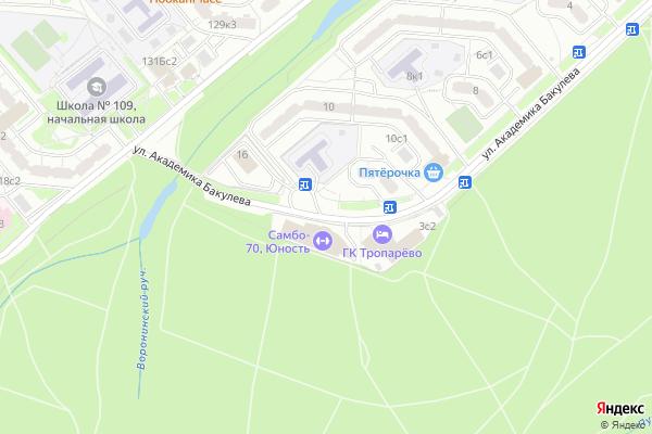 Ремонт телевизоров Улица Академика Бакулева на яндекс карте