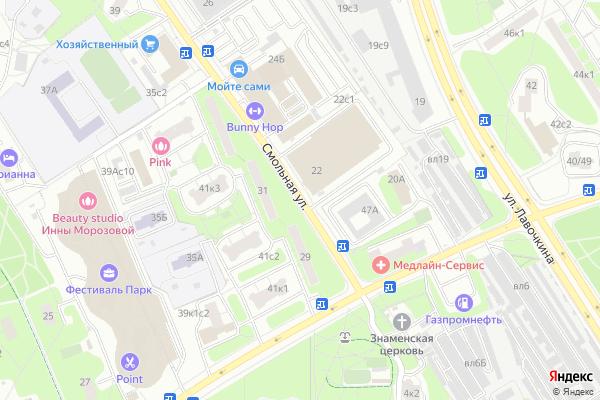 Ремонт телевизоров Улица Смольная на яндекс карте