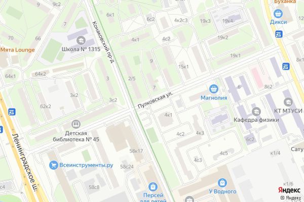 Ремонт телевизоров Улица Пулковская на яндекс карте
