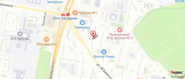 Карта расположения пункта доставки Москва 26-ти Бакинских Комиссаров в городе Москва