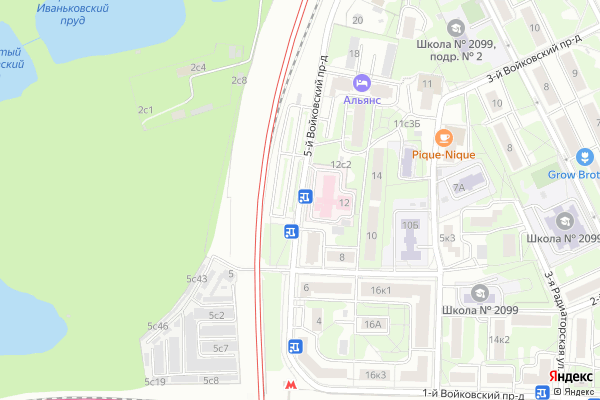 Ремонт телевизоров 5 й Войковский проезд на яндекс карте