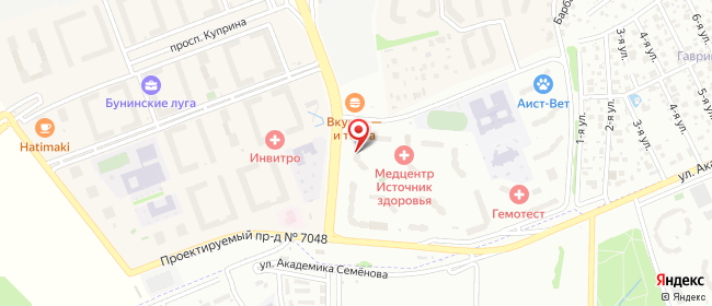 Карта расположения пункта доставки 7084 Постамат ОМНИСДЭК в городе Сосенское