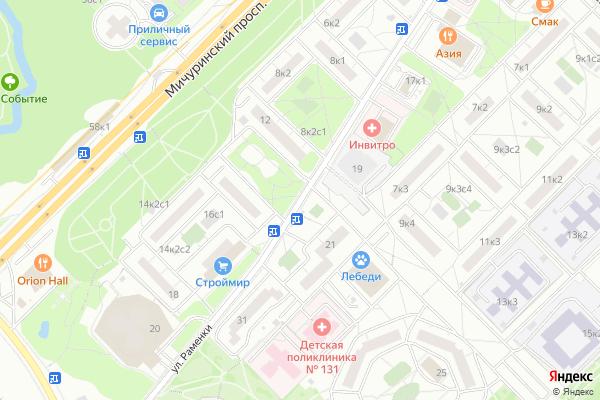 Ремонт телевизоров Улица Раменки на яндекс карте
