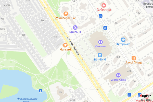 Ремонт телевизоров Улица Лавочкина на яндекс карте