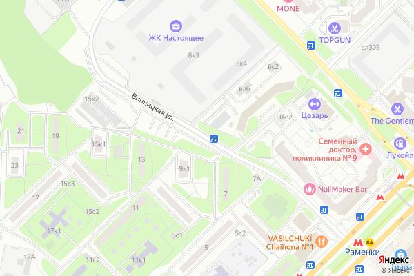 Ремонт телевизоров Улица Винницкая на яндекс карте