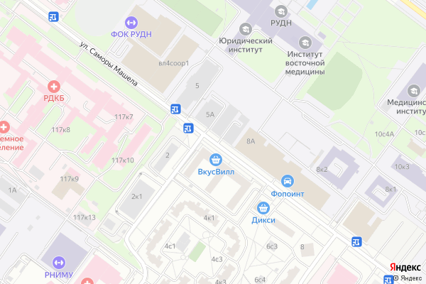 Ремонт телевизоров Улица Саморы Машела на яндекс карте