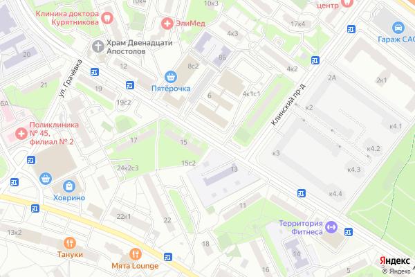 Ремонт телевизоров Улица Клинская на яндекс карте