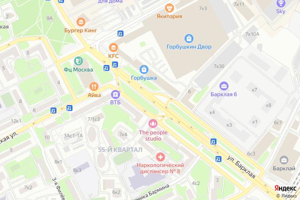 Ремонт телевизоров Улица Барклая на яндекс карте
