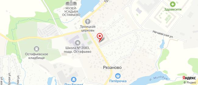 Карта расположения пункта доставки Село Остафьево в городе Щербинка