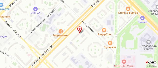 Карта расположения пункта доставки Москва Мичуринский в городе Москва