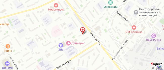 Карта расположения пункта доставки Москва Онежская в городе Москва