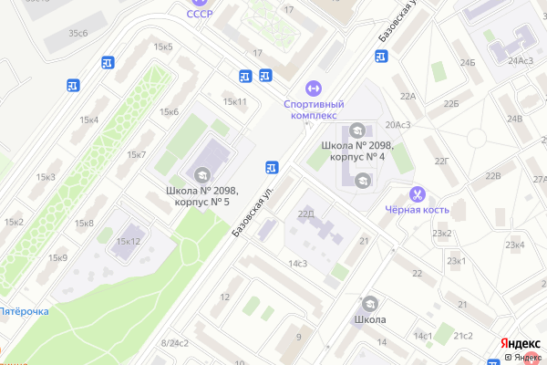 Ремонт телевизоров Улица Базовская на яндекс карте