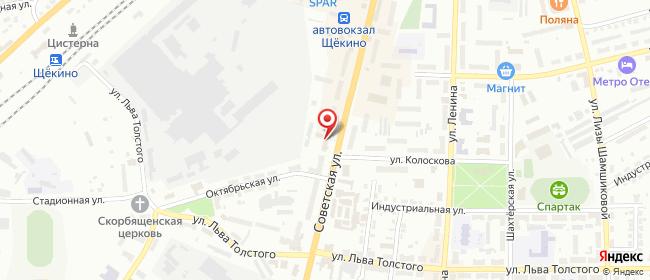 Карта расположения пункта доставки Ростелеком в городе Щекино