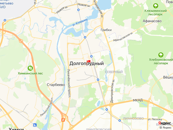 Карта город Долгопрудный