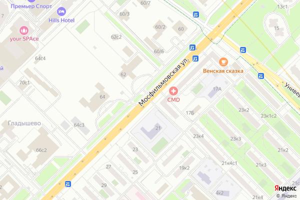Ремонт телевизоров Улица Мосфильмовская на яндекс карте