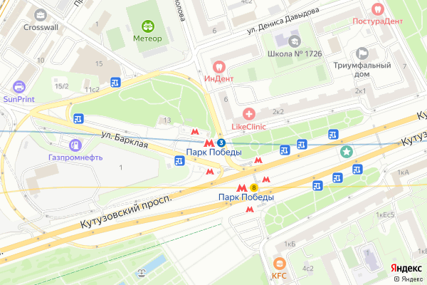 Ремонт телевизоров Метро Парк Победы на яндекс карте