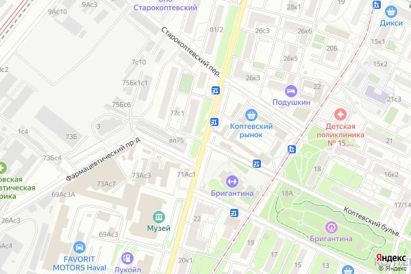 Ремонт телевизоров Улица Коптевская на яндекс карте