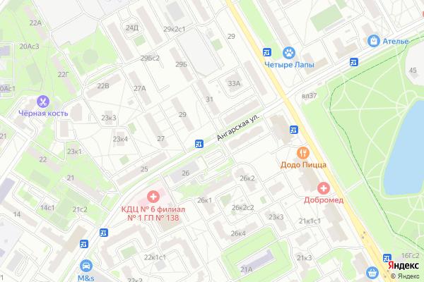 Ремонт телевизоров Улица Ангарская на яндекс карте