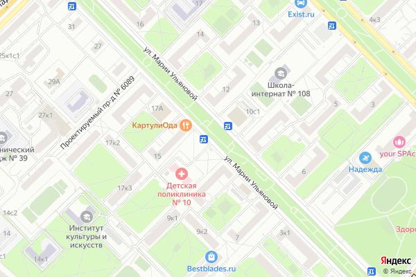 Ремонт телевизоров Улица Марии Ульяновой на яндекс карте