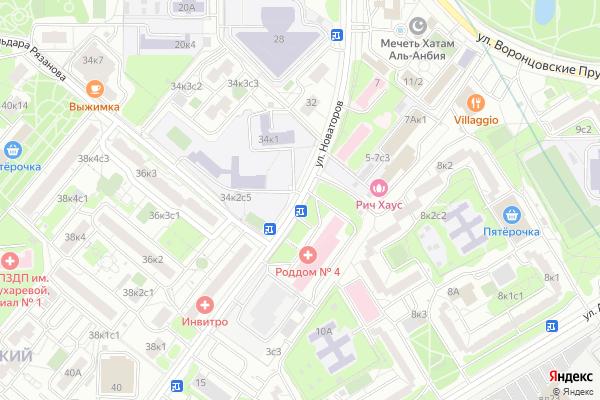 Ремонт телевизоров Улица Новаторов на яндекс карте