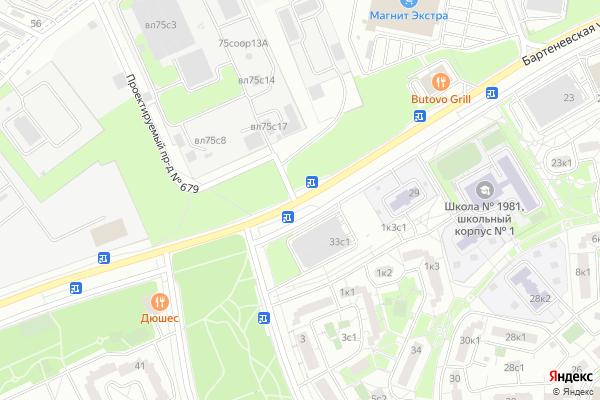 Ремонт телевизоров Улица Бартеневская на яндекс карте