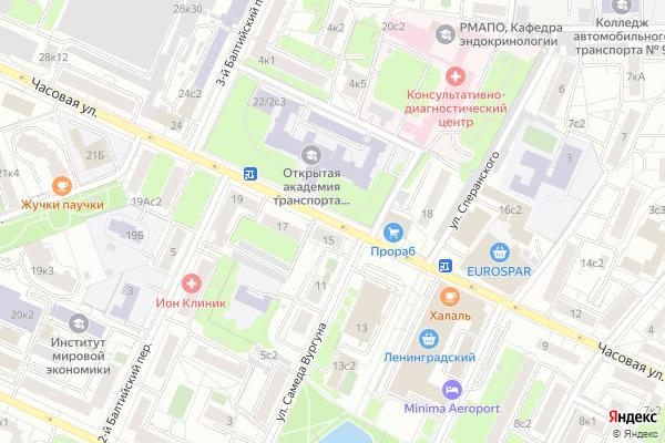 Ремонт телевизоров Улица Часовая на яндекс карте