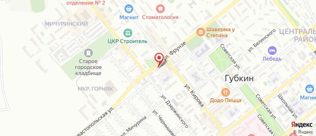 Карта расположения пункта доставки СИТИЛИНК в городе Губкин
