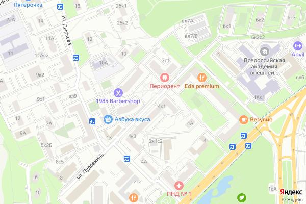 Ремонт телевизоров Улица Пудовкина на яндекс карте