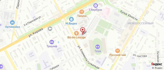 Карта расположения пункта доставки На Клемента Готвальда в городе Подольск