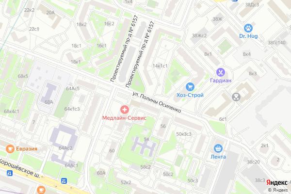Ремонт телевизоров Улица Полины Осипенко на яндекс карте