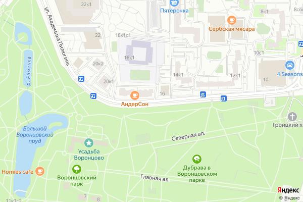 Ремонт телевизоров Улица Академика Пилюгина на яндекс карте