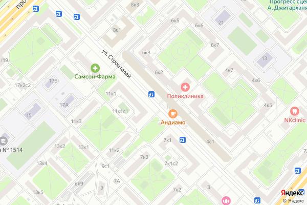 Ремонт телевизоров Улица Строителей на яндекс карте